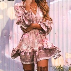 Gorgeous Boho Fall Flowers Pink Ruffle Dress